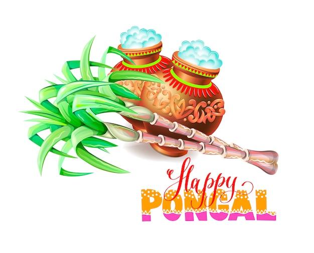 Cartolina d'auguri felice del pongal al festival del raccolto indiano del sud