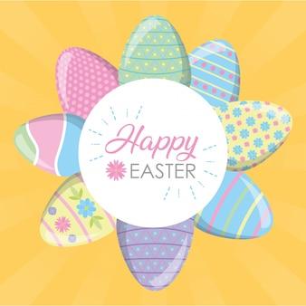 Cartolina d'auguri felice della decorazione delle uova di pasqua