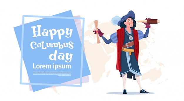 Cartolina d'auguri felice di columbus day american discovery holiday poster