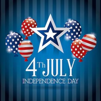 Cartolina d'auguri felice di festa dell'indipendenza, il 4 luglio, progettazione di usa