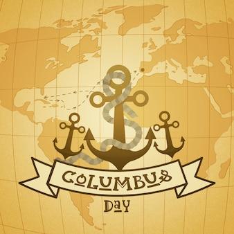 Cartolina d'auguri felice di festa di usa di columbus day felice con l'ancora sopra la mappa di mondo