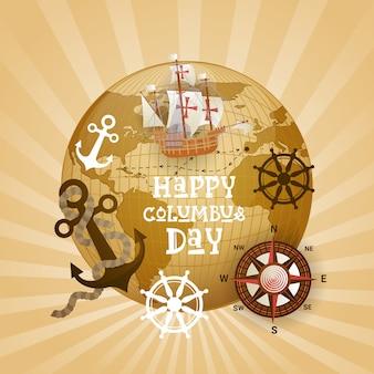 Cartolina d'auguri felice di festa di usa di columbus day felice con la nave sopra la mappa di mondo