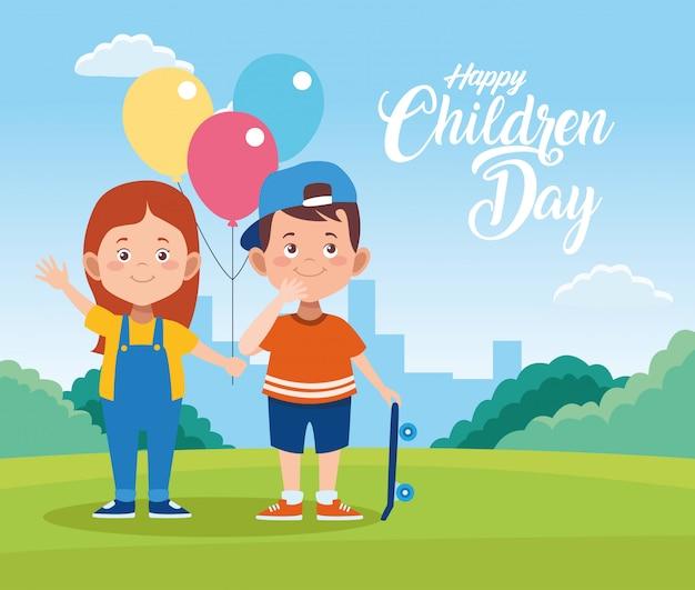 Cartolina d'auguri felice di giorno dei bambini con elio dei bambini e dei palloni nel campo