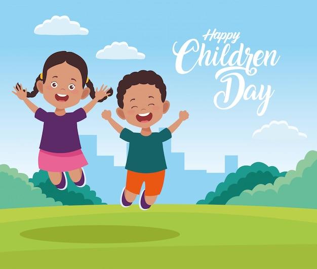 Cartolina d'auguri felice di giorno dei bambini con i bambini nel campo