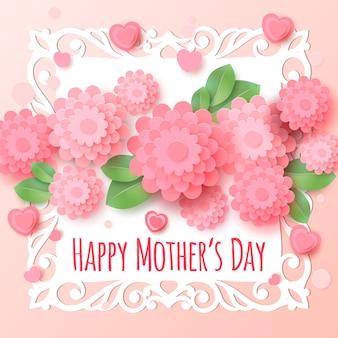 Cartolina d'auguri felice di giorno del `s della madre con i fiori di carta.