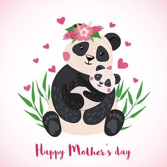 Cartolina d'auguri felice di giorno di madri con il panda sveglio con stile disegnato del bambino a disposizione.