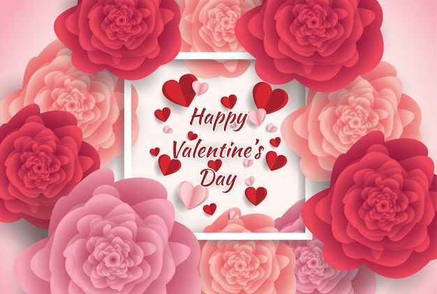 Cartolina d'auguri felice di giorno di s. valentino con il fondo dei fiori