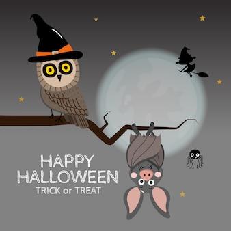 Cartolina d'auguri felice di halloween con il gufo sveglio.
