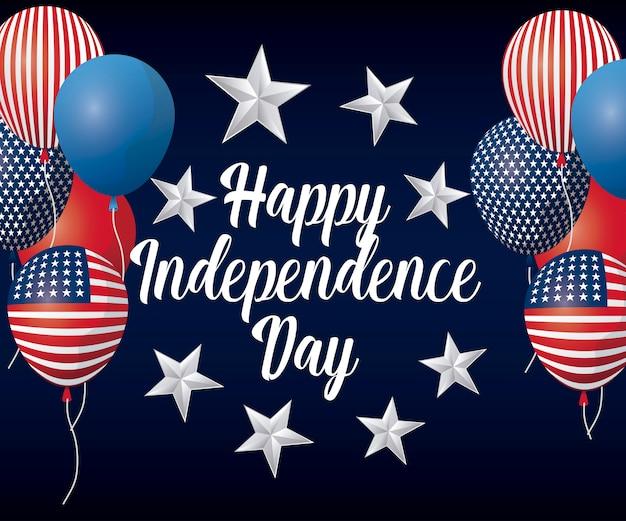 Cartolina d'auguri felice giorno dell'indipendenza con palloncini elio