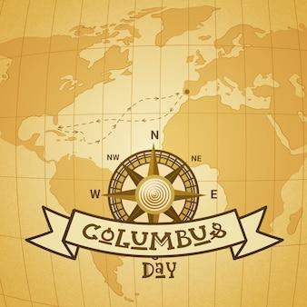 Cartolina d'auguri felice nazionale di festa di columbus day degli stati uniti con la bussola sopra la mappa di mondo