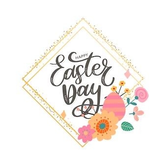 Cartolina d'auguri felice variopinta di pasqua con le uova dei fiori e la composizione negli elementi del coniglio. file eps10 organizzato in strati per un facile montaggio.