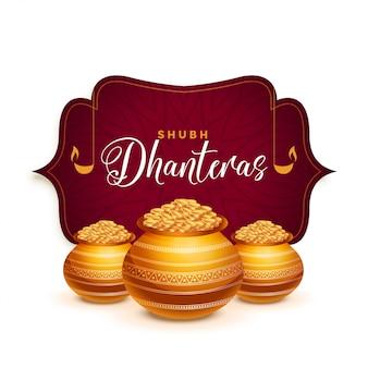 Cartolina d'auguri festival di dhanteras con vaso d'oro