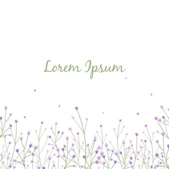Cartolina d'auguri floreale con foglie e fiori nella priorità bassa bianca.