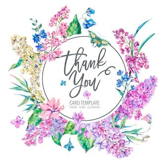 Cartolina d'auguri floreale d'annata di vettore con il lillà rosa