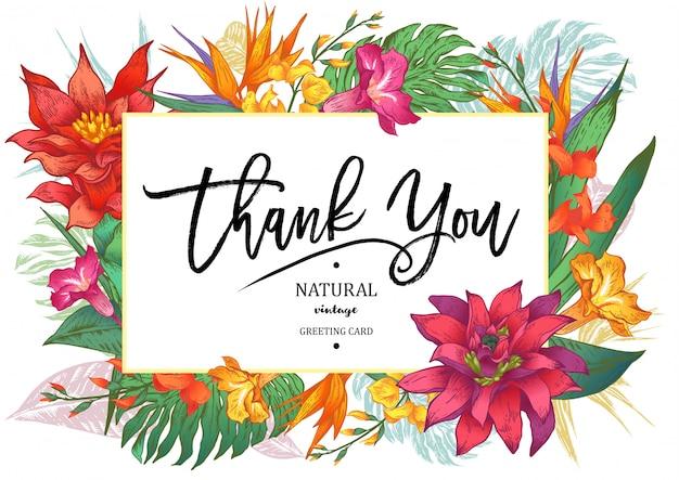 Cartolina d'auguri floreale d'annata tropicale di estate