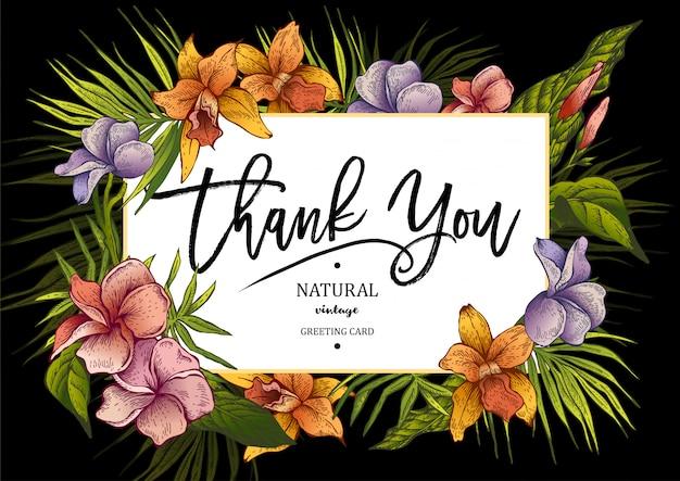 Cartolina d'auguri floreale d'annata tropicale orizzontale di estate