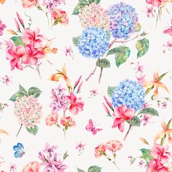 Cartolina d'auguri floreale dell'annata di vettore con ortensie, orchidee