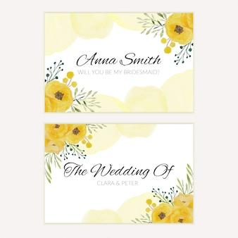 Cartolina d'auguri floreale della damigella d'onore dell'acquerello nel colore giallo