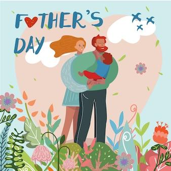 Cartolina d'auguri, genitori e figlio felici di giorno di padri