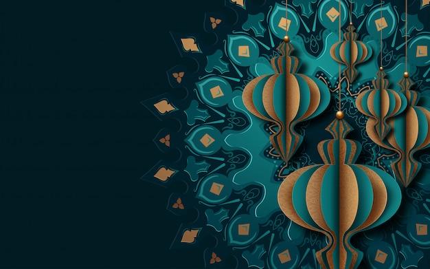 Cartolina d'auguri islamica per il ramadan. stile di arte di carta.