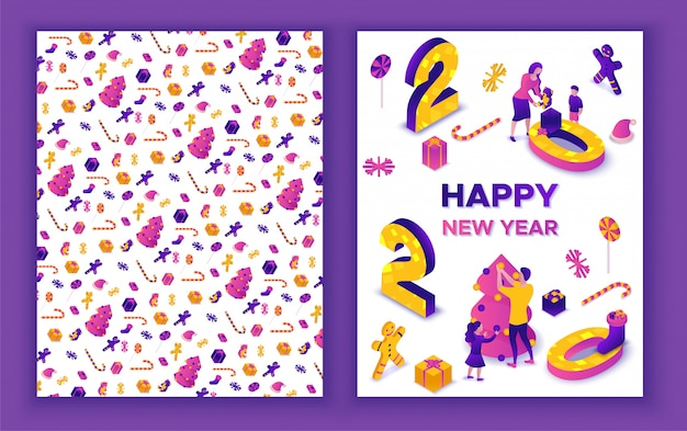 Cartolina d'auguri isometrica di nuovo anno