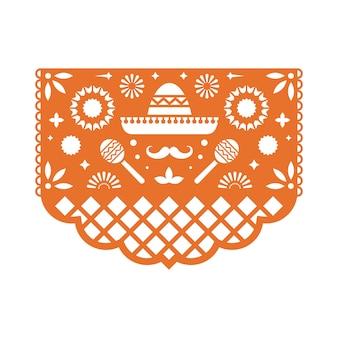 Cartolina d'auguri messicana di papel picado con motivo floreale.