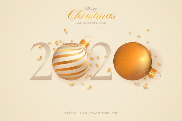 Cartolina d'auguri minima per il nuovo anno 2020