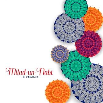 Cartolina d'auguri musulmana di eid milad un nabi festival