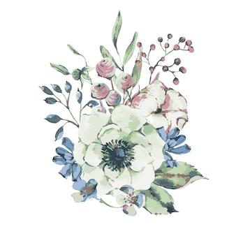 Cartolina d'auguri naturale dell'acquerello dell'annata di vettore con anemone