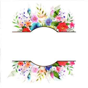Cartolina d'auguri o invito con fiori di acquerello.