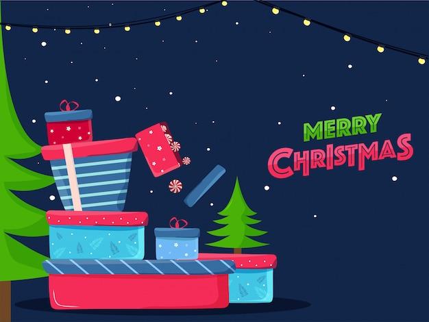 Cartolina d'auguri o manifesto di buon natale con l'albero di natale e scatole regalo sull'azzurro decorato con ghirlanda di illuminazione.