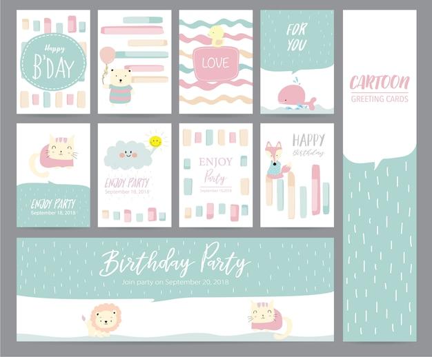 Cartolina d'auguri pastello rosa verde con gatto, coniglio, anatra, balena, volpe, gatto e nuvola