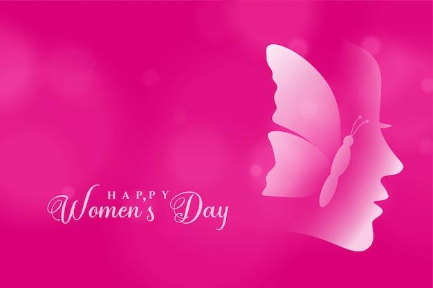Cartolina d'auguri rosa di giorno delle donne felici attraenti