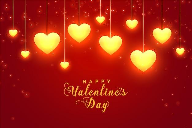 Cartolina d'auguri rossa d'ardore dei cuori di san valentino