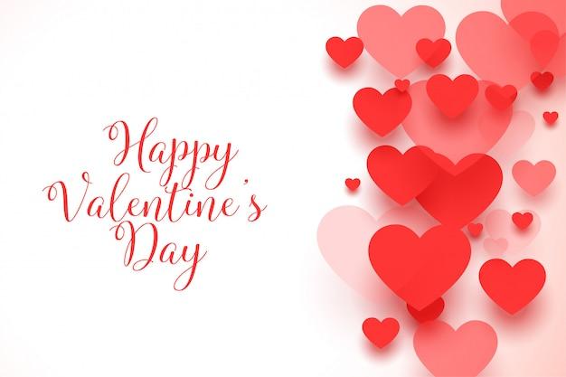 Cartolina d'auguri rossa felice dei cuori di san valentino