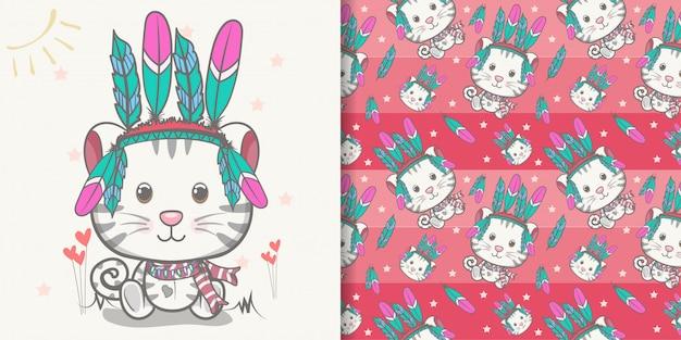 Cartolina d'auguri sveglia del gattino del bambino con l'insieme del modello