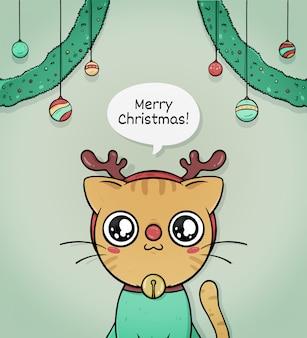 Cartolina d'auguri sveglia di buon natale con la renna del gatto