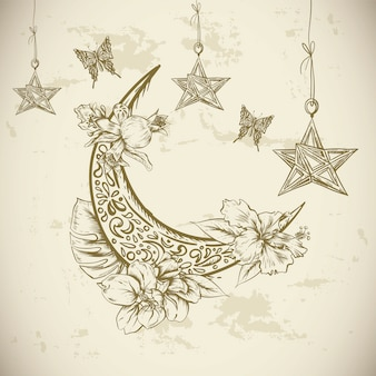 Cartolina d'auguri tradizionale con i fiori, le stelle e la luna arabi, illustrazione disegnata a mano di vettore di ramadan kareem