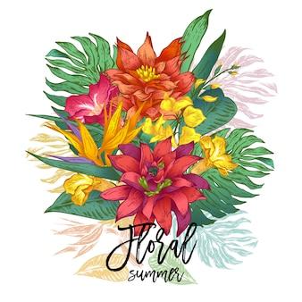 Cartolina d'auguri tropicale floreale d'annata di vettore