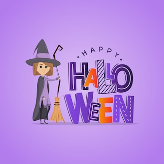 Cartolina d'auguri viola con piccola strega carina. felice halloween