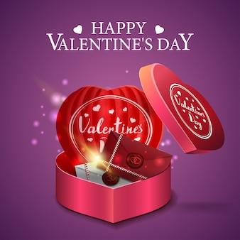 Cartolina d'auguri viola di san valentino con lettere d'amore