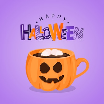 Cartolina d'auguri viola di vettore con la tazza e la caramella gommosa e molle di caffè della zucca. felice halloween
