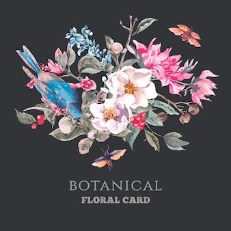 Cartolina d'epoca con fiori rosa, coleotteri e uccelli