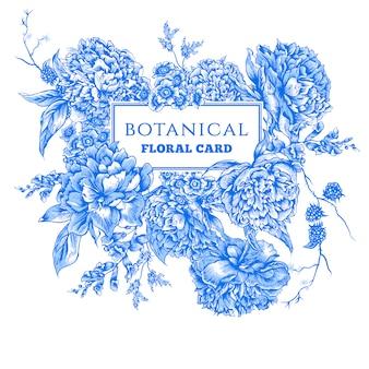 Cartolina d'epoca con peonie blu