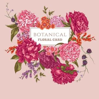 Cartolina d'epoca con peonie in fiore