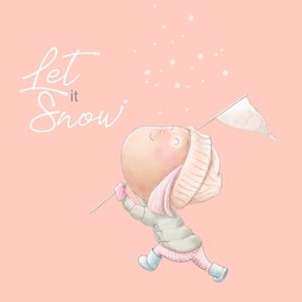 Cartolina d'inverno carino con ragazza dei cartoni animati