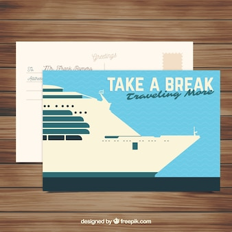 Cartolina da viaggio con nave da crociera piatta