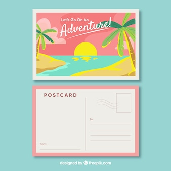 Cartolina da viaggio con vista sulla spiaggia in stile piatto