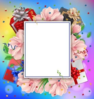 Cartolina di auguri, fiori, regali e cornice