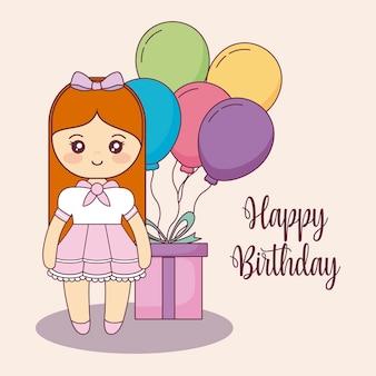 Cartolina di buon compleanno carino piccola bambola